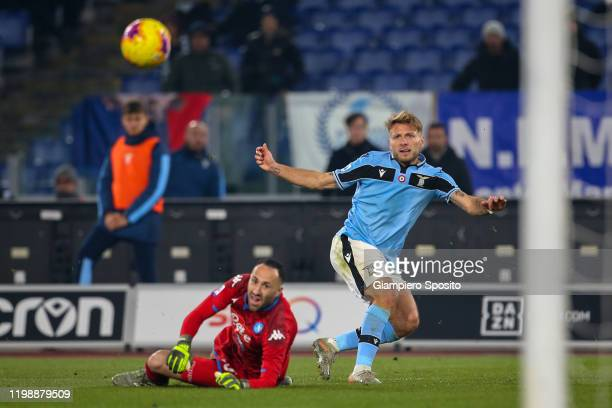 Ciro Immobile of SS Lazio scores the opening goal during the Serie A match between SS Lazio and SSC Napoli at Stadio Olimpico on January 11, 2020 in...