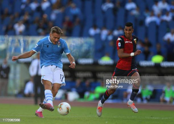 Ciro Immobile of SS Lazio scores the team's fourth goal during the Serie A match between SS Lazio and Genoa CFC at Stadio Olimpico on September 29...