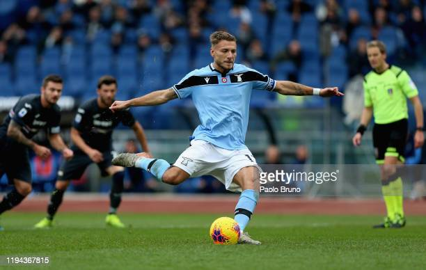 Ciro Immobile of SS Lazio scores the team's second goal from the penalty spot during the Serie A match between SS Lazio and UC Sampdoria at Stadio...