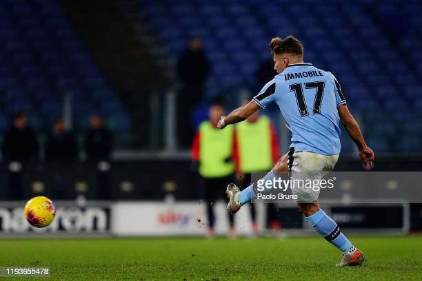 Ciro Immobile of SS Lazio scores the team's third goal from penalty spot during the Coppa Italia match between SS Lazio and US Cremonese at Olimpico...