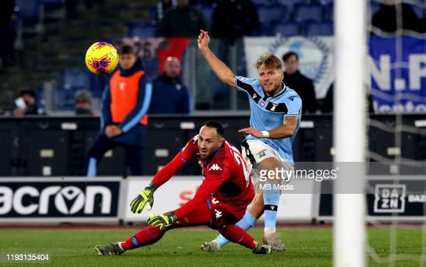 Ciro Immobile of SS Lazio scoring his Goal 10 during the Serie A match between SS Lazio and SSC Napoli at Stadio Olimpico on January 11 2020 in Rome...