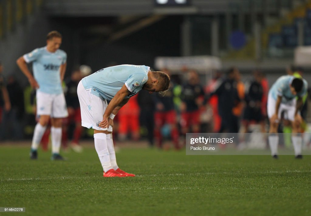 Ciro Immobile of SS Lazio shows his dejection after the Serie A match between SS Lazio and Genoa at Stadio Olimpico on February 5, 2018 in Rome, Italy.