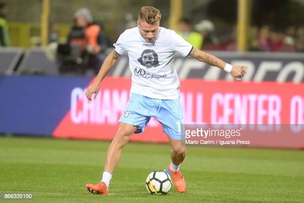 Ciro Immobile of SS Lazio wears a shirt depicting Anne Frank saying 'no to antiSemitism' in response to antisemitic graffiti left by their fans at a...
