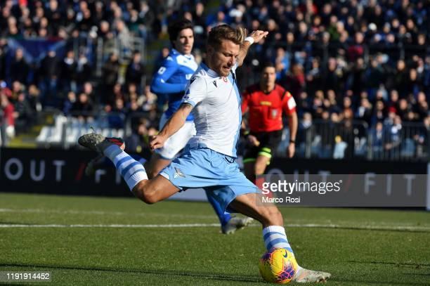Ciro Immobile of SS Laziokicks the ball during the Serie A match between Brescia Calcio and SS Lazio at Stadio Mario Rigamonti on January 5 2020 in...