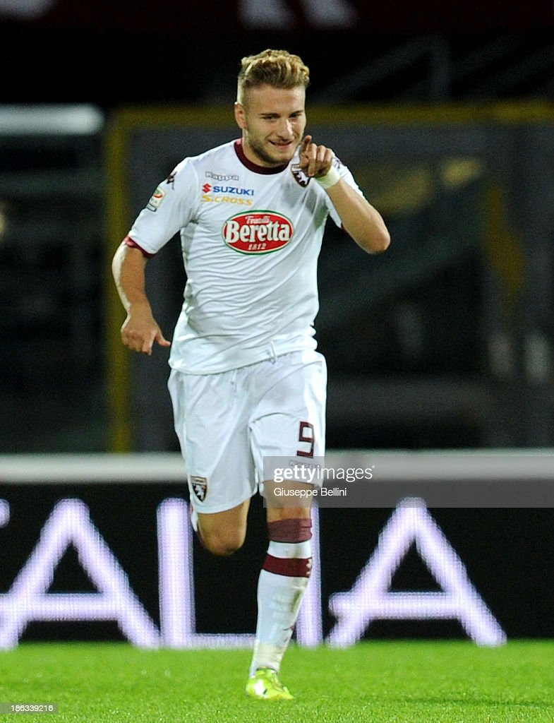 Ciro Immobile of Torino celebrates after scoring the opening goal during the Serie A match between AS Livorno Calcio v Torino FC at Stadio Armando Picchi on October 30, 2013 in Livorno, Italy.