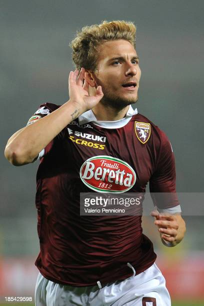 Ciro Immobile of Torino FC celebrates after scoring their second goal during the Serie A match between Torino FC and FC Internazionale Milano at...