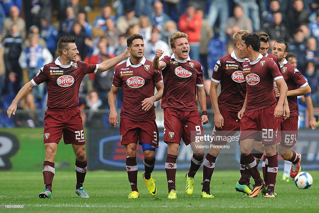Ciro Immobile (C) of Torino FC celebrates his goal during the Serie A match between UC Sampdoria and Torino FC at Stadio Luigi Ferraris on October 6, 2013 in Genoa, Italy.