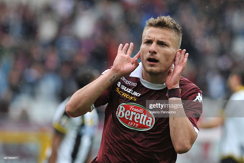 Ciro Immobile of Torino FC celebrates his goal during the Serie A match between Torino FC and Udinese Calcio at Stadio Olimpico di Torino on April 27, 2014 in Turin, Italy.