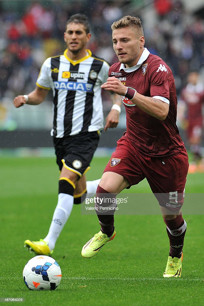 Ciro Immobile of Torino FC in action during the Serie A match between Torino FC and Udinese Calcio at Stadio Olimpico di Torino on April 27, 2014 in Turin, Italy.