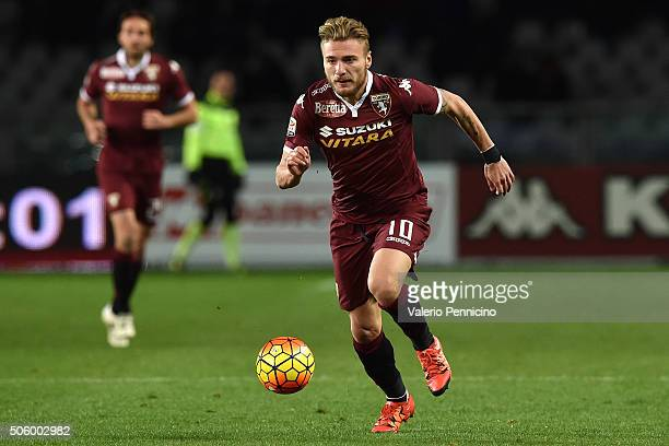 Ciro Immobile of Torino FC in action during the Serie A match between Torino FC and Frosinone Calcio at Stadio Olimpico di Torino on January 16 2016...
