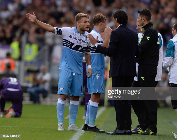 Ciro Immobile Simone Inzaghi during the Italian Serie A football match between SS Lazio and Fiorentina at the Olympic Stadium in Rome on october 07...