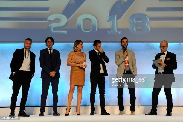 Ciro Immobile Simone Inzaghi Senad Lulic and Marco Parolo of SS Lazio during the SS Lazio Christmas Party on December 19 2017 in Rome Italy