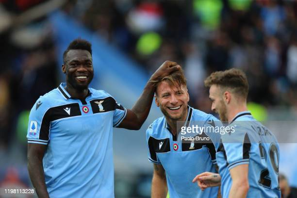 Ciro Immobile with his teammate Felipe Caicedo of SS Lazio celebrates after scoring the team's third goal during the Serie A match between SS Lazio...