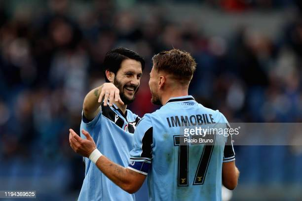 Ciro Immobile with his teammate Luis Alberto of SS Lazio celebrates after scoring the team's fourth goal during the Serie A match between SS Lazio...