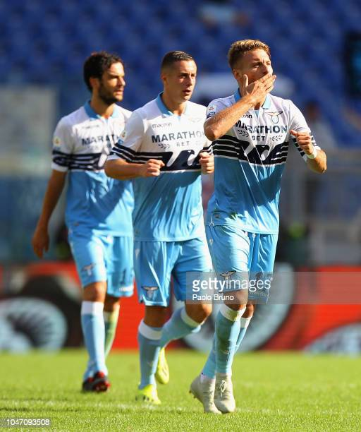 Ciro Immobile with his teammates of SS Lazio celebrates after scoring the opening goal during the Serie A match between SS Lazio and ACF Fiorentina...