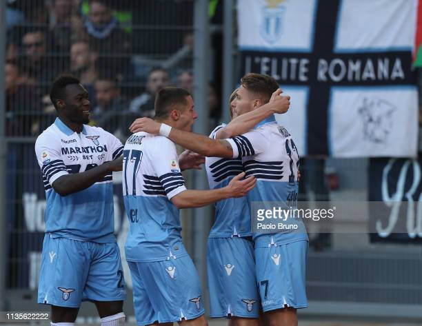 Ciro Immobile with his teammates of SS Lazio celebrates after scoring the opening goal from penalty spot during the Serie A match between SS Lazio...