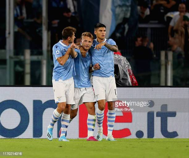 Ciro Immobile with his teammates of SS Lazio celebrates after scoring the opening goal during the Serie A match between SS Lazio and Parma Calcio at...