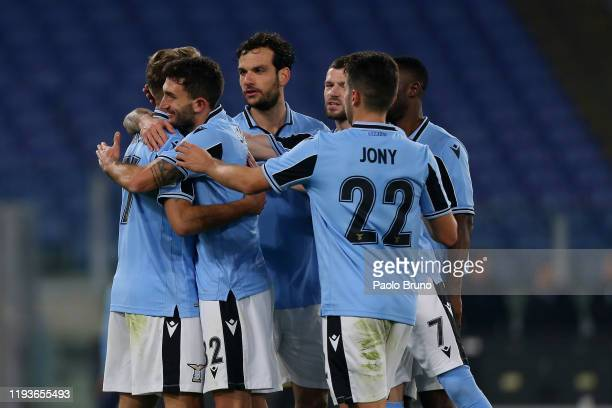 Ciro Immobile with his teammates of SS Lazio celebrates after scoring the team's third goal from penalty spot during the Coppa Italia match between...