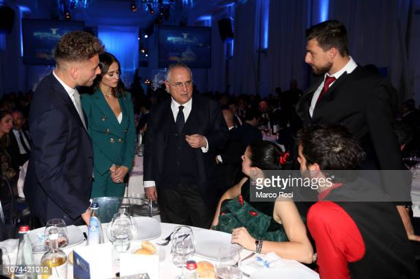 Ciro Immobile with his wife President Claudio Lotito Francesco Acerbi and Marco Parolo of SS Lazio attend the SS Lazio Christmas dinner at Spazio...