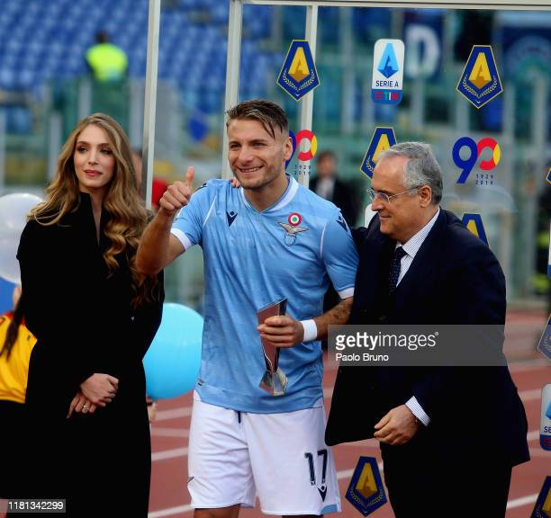 Ciro Immobile with of SS Lazio President Claudio Lotito pose with the Lega Serie A MVP award before the Serie A match between SS Lazio and US Lecce...
