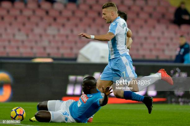 Ciro Immobileof SS Lazio compete for the ball with Kalidou Koulibaly of SSC Napoli during the serie A match between SSC Napoli and SS Lazio at Stadio...