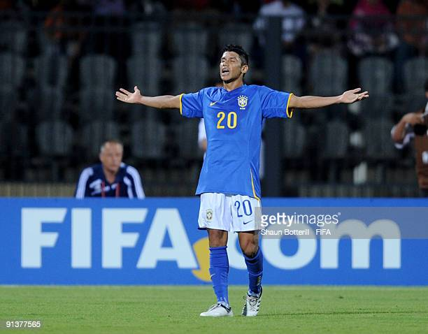 Ciro of Brazil celebrates after scoring during the FIFA U20 World Cup Group E match between Australia and Brazil at the Port Said Stadium on October...