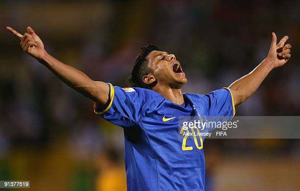 Ciro of Brazil celebrates after scoring his goal during the FIFA U20 World Cup Group E match between Australia and Brazil at the Port Said Stadium on...