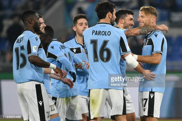 CiroImmobile of SS Lazio celebrate a third goal with his team mates during the Coppa Italia match between SS Lazio and US Cremonese at Olimpico...