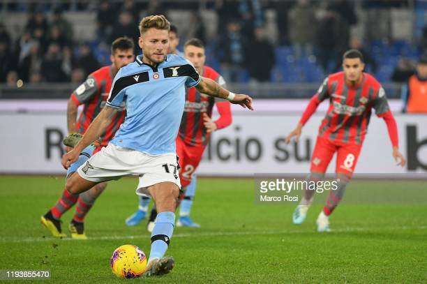 CiroImmobile of SS Lazio scores a third goal a penalty during the Coppa Italia match between SS Lazio and US Cremonese at Olimpico Stadium on January...