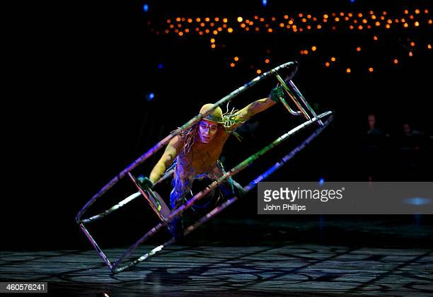 Cirque du Soleil acrobats perform during the dress rehearsal of Cirque du Soleil's 'Quidam' at Royal Albert Hall on January 4 2014 in London England