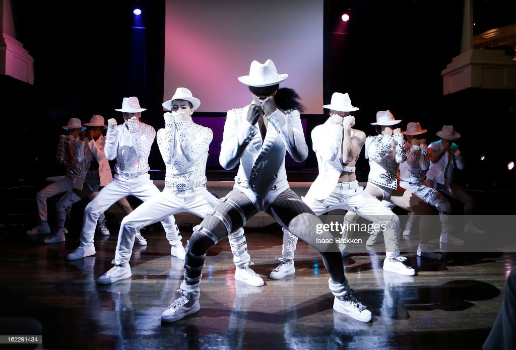 Cirque du Soleil dancers interrupt a news conference announcing 'Michael Jackson ONE' with a performance at the Mandalay Bay Resort & Casino on February 21, 2013 in Las Vegas, Nevada.