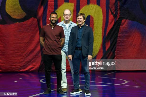 Cirque du Soleil Director Mukhtar Omar Sharif Executive Producer Charles Joron and Production Manager Tyler Davidson pose in front of a banner...