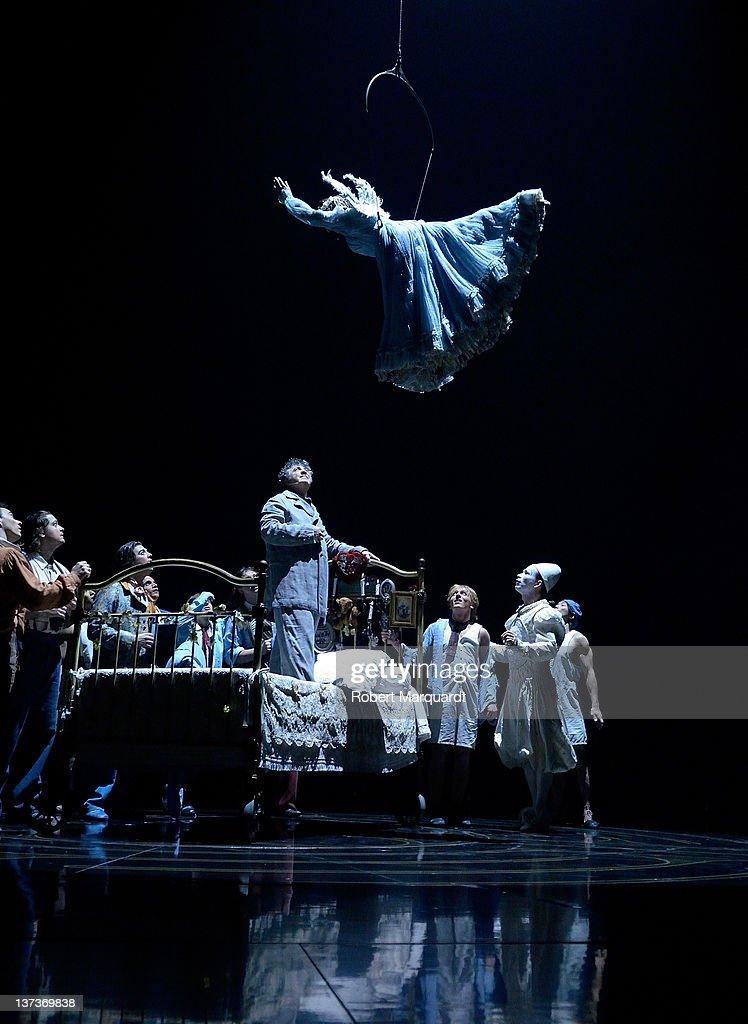 Cast member Julie McInnes performs at the Cirque Du
