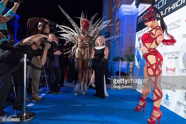 Cirque Du Soleil performer arrives at the Metropolitan Fashion Week 2016 Closing Gala And Fashion Awards at Warner Bros Studios on October 1 2016 in...