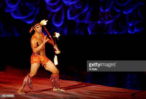 Cirque Du Soleil performer Karl Sanft performs during the opening ceremony for the XI FINA World Championships on July 16 2005 at the Parc...