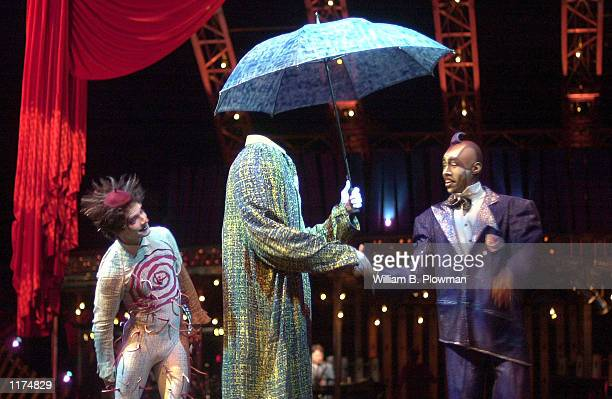 Cirque du Soleil performers appear during the dress rehearsal of the troupe's Quidam show July 24 2002 in Boston Massachusetts The show translates...