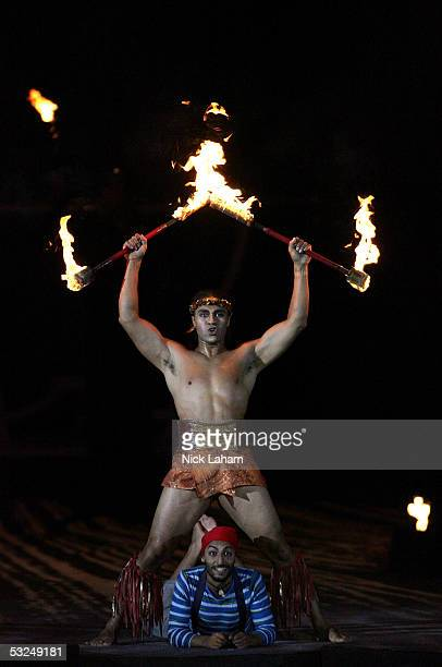 Cirque du Soleil performers Karl Sanft and Reda Guerinik pose at the end of their perfomance during the opening ceremony for the XI FINA World...