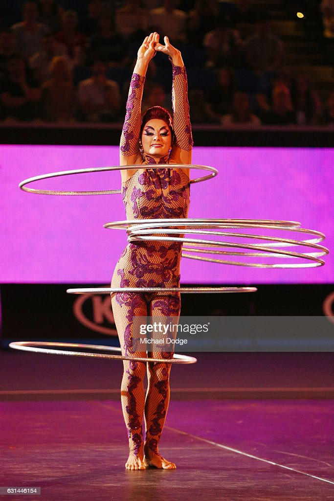Cirque du soleil performers open proceedings during 'A Night with Novak' at Margaret Court Arena on January 11, 2017 in Melbourne, Australia.