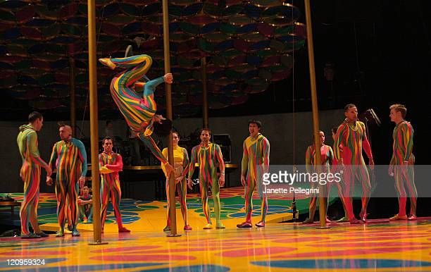 """Cirque du Soleil performers rehearse """"Saltimbanco"""" at the Prudential Center on August 6, 2008 in Newark, New Jersey."""