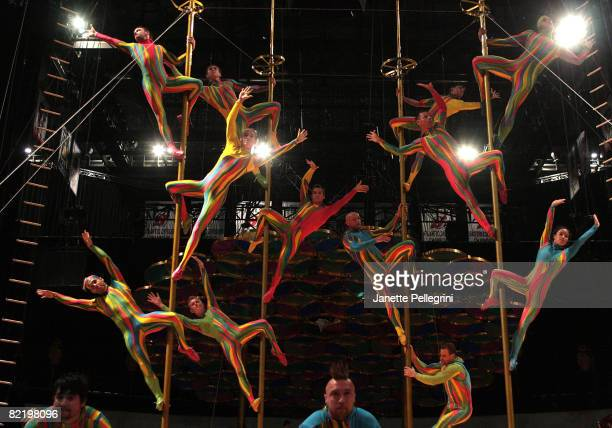 Cirque du Soleil performers rehearse 'Saltimbanco' at the Prudential Center on August 6 2008 in Newark New Jersey