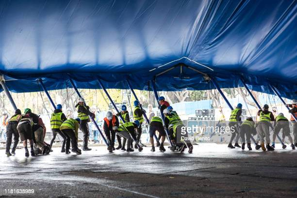 Cirque du Soleil picks up its tent for its new Kooza show on the Puerta del Angel stage on October 17 2019 in Madrid Spain