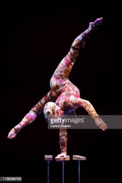 Cirque du Soleil's contorsionist performs on stage during the Opening Day - Red Carpet - Malaga Film Festival 2019 on March 15, 2019 in Malaga, Spain.