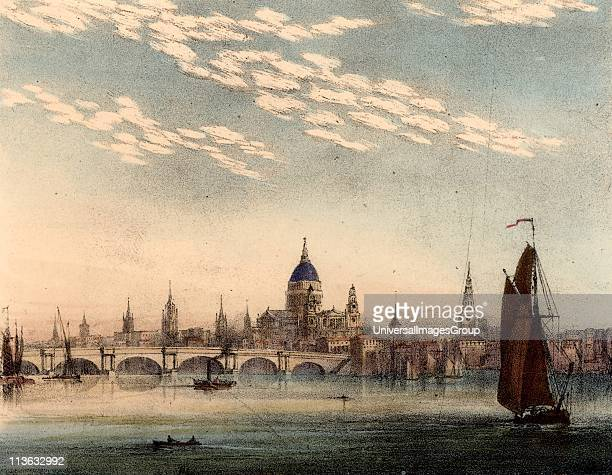 Cirrocumulus cloud which occurs in summer in warm dry weather Shown over the River Thames London England In right foreground is a typical Thames...