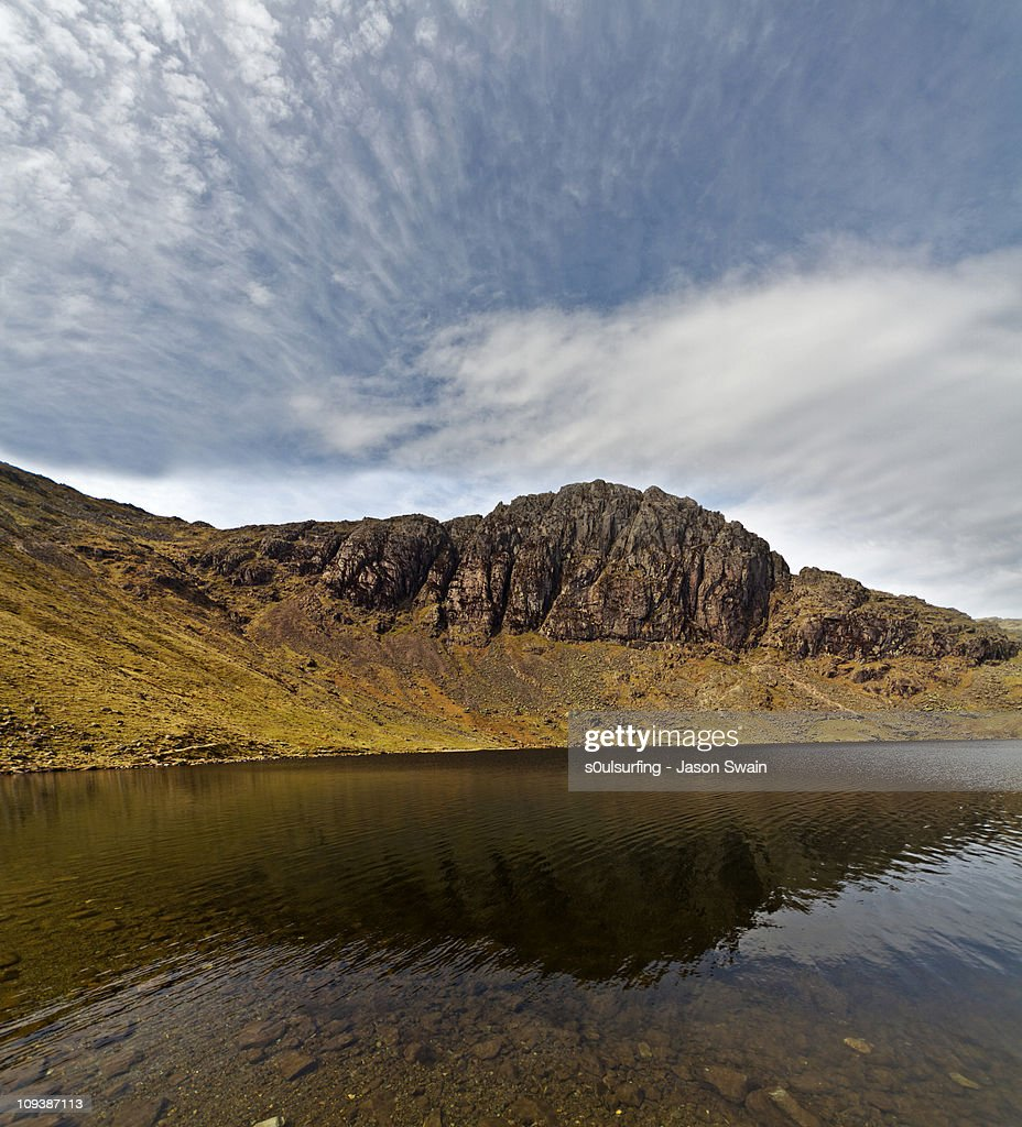 Cirrocumulus clouds over Stickle Tarn & Pavey Ark : Stock Photo