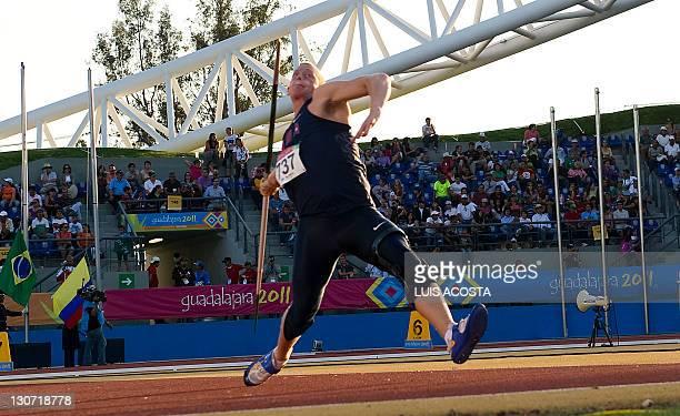 Cirus Hostleter competes in the men's Javelin throw during the Guadalajara 2011 XVI Pan American Games in Guadalajara, Mexico, on October 28, 2011....