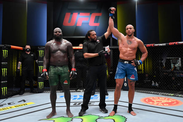 Ciryl Gane of France reacts after his victory over Jairzinho Rozenstruik of Suriname in a heavyweight bout during the UFC Fight Night event at UFC...