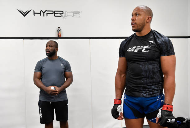 Ciryl Gane of France warms up prior to his fight during the UFC Fight Night event at UFC APEX on June 26, 2021 in Las Vegas, Nevada.