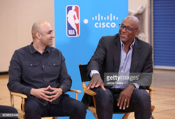 Cisco Chief Technologist Chintan Patel and NBA hall of famer Clyde Drexler during a Facebook Live session at SXSW held at Austin Recreation Center on...
