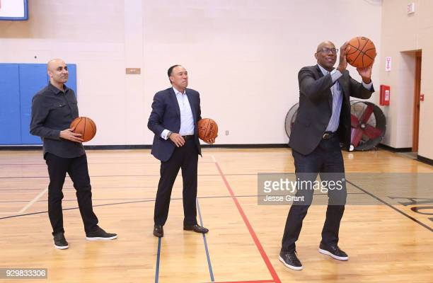 Cisco Chief Technologist Chintan Patel NBA Deputy Commissioner and Chief Operating Officer Mark Tatum and NBA hall of famer Clyde Drexler during a...