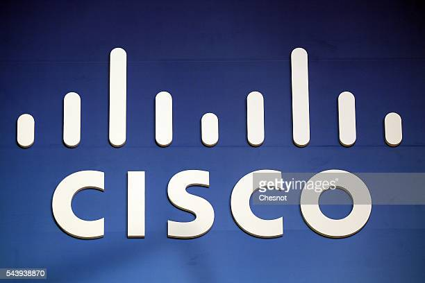 Cisco logo is displayed during the Viva Technology show on June 30 2016 in Paris France Viva Technology Startup Connect the new international event...